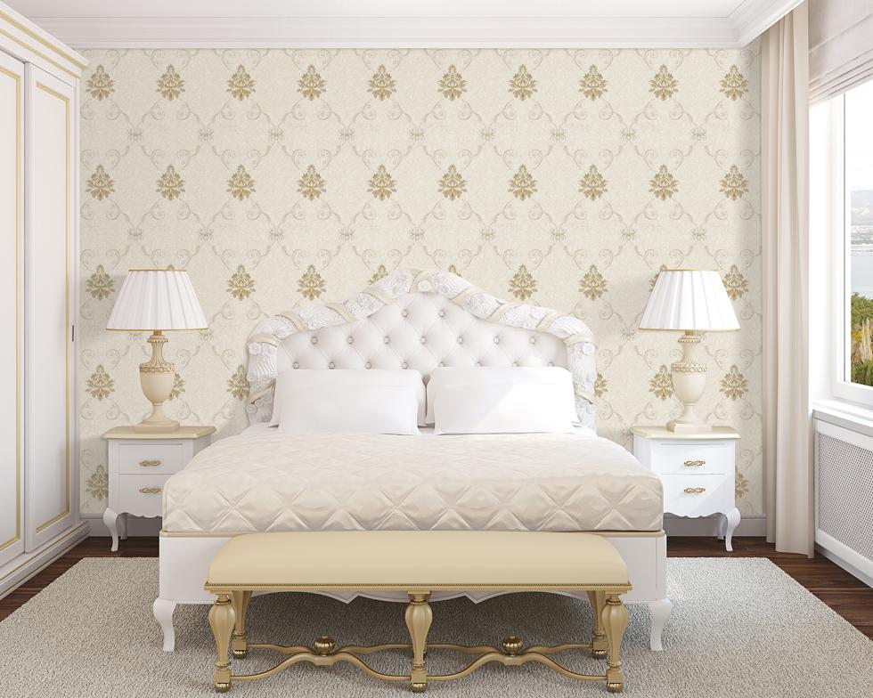 金丝雀刺绣无缝墙布 欧式背景墙卧室 浅咖色墙布