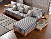 泰国进口橡木 透气亚麻面料 自带储物架 双色拼接条 地中海风格L型沙发套装(1+3+左贵妃+边几*2)