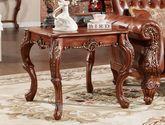天然亚洲硬木 手工描金雕花 圆润防撞边角 S形桌脚 美式风格小边桌