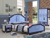 地中海风格 高档橡胶木实木框架 蔚蓝色调 1.5米罗马柱儿童床