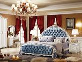 法式风格 典雅圆弧型床头 精美压花绒布软包 1.8米排骨架双人床
