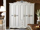 法式风格 时尚浪漫 100%全实木框架 精美立体雕花白色五门平开衣柜