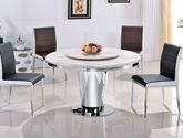 现代风格 素雅奢华 爵士白大理石台面 经久耐用镜光不锈钢架支柱圆餐桌