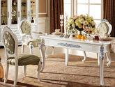 法式风格 高档印花布艺软包坐面靠背 精美绝伦描银雕花顶冠 经典白色实木框架无扶手餐椅