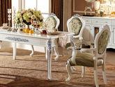 法式风格 高档印花布艺软包坐面靠背 精美绝伦描银雕花顶冠 经典白色带扶手餐椅