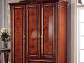 欧式风格 贵族首选 精美立体雕花别致金属拉手 带抽屉三门平开衣柜
