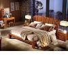 100%全实木框架 不规则方块拼接床屏设计 立柱型床脚设计 中式风格1.8米双人床