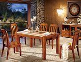抗油污大理石桌面 名贵楠木 宽厚立柱型承重桌脚 原木色泽 中式风格1.5米长餐桌