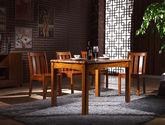 天然亚洲硬木 宽厚立柱桌腿 圆润防撞边角 中式风格餐桌