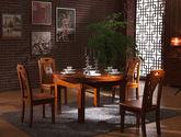 可伸缩设计 原始森林出产亚洲硬木 立体凹槽拉手 宽厚柱形桌腿 中式风格餐桌