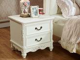 欧式风格 古朴典雅浪漫象牙白 精致手工描银两抽卧室床边柜