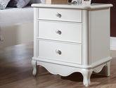 欧式风格 经典象牙白简约实用 精选优质实木三抽床边柜
