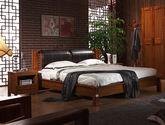 中式风格 至优品质 波浪形床头 1.8米高档橡胶木双人床