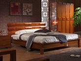 100%亚洲硬木 凹陷释压靠背 天然原木纹理 中式风格1.8米双人床