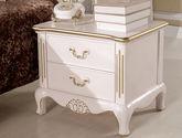 100%亚洲硬木 手工描金立体雕花 金属拉手设计 欧式两抽床头柜