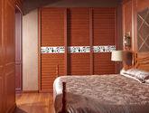 美式风格 奢华尊享系列 经典百叶设计 天然清晰木纹 花形腰线点缀 定制趟门衣柜
