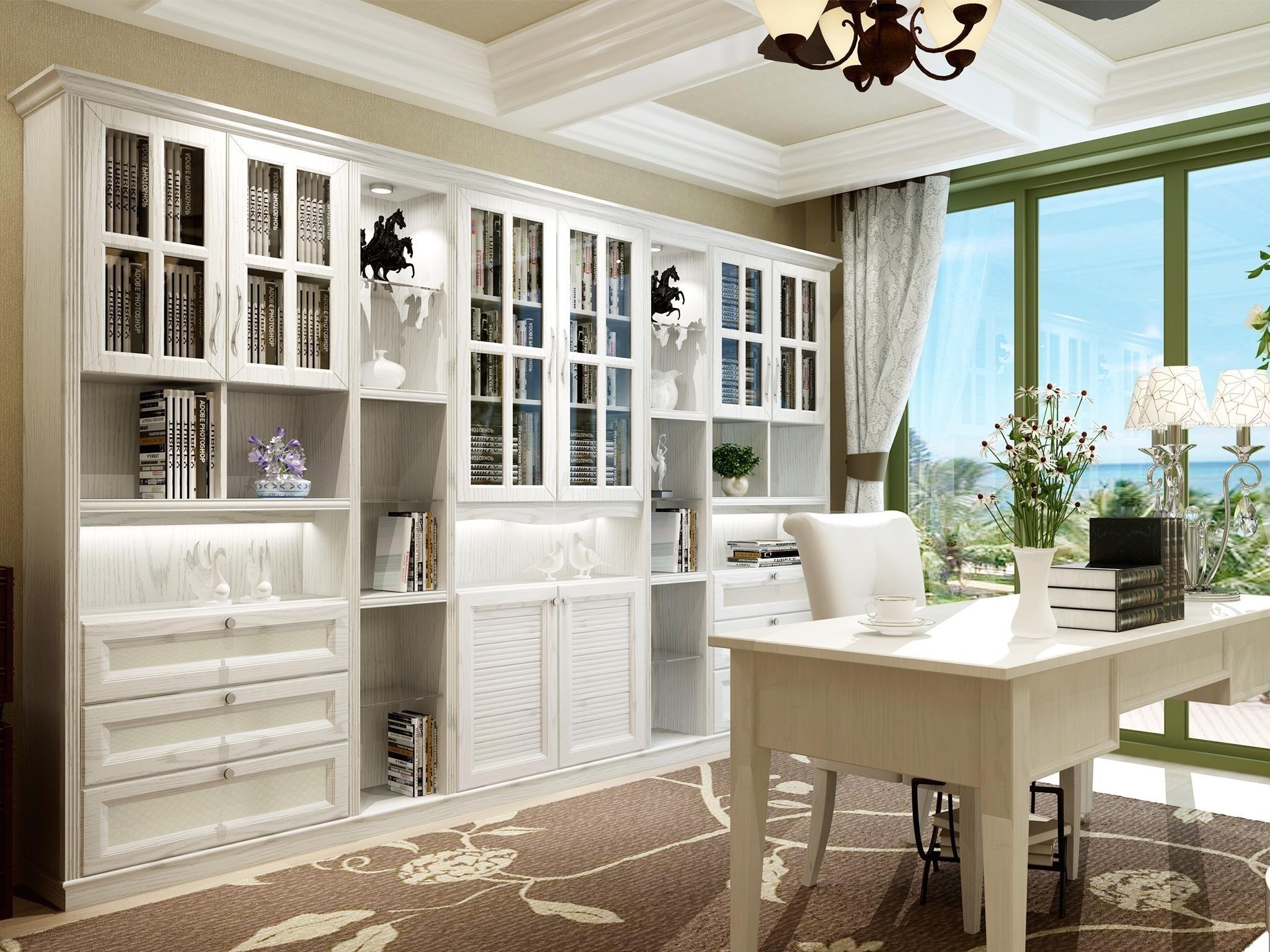 欧式风格 精致优美宫廷顶线 对称弧形线条设计 超储存六门书柜(订金)