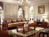 中式风格 一室尊享 全楠木实木框架 栅栏式扶手设计 加厚柔软坐垫沙发套装(左转角)