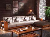 100%亚洲硬木全实木框架 耐磨绒布面料 多功能置物架扶手 中式风格无扶手沙发套装(1+3+左贵妃)
