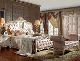 皇室牧场头层牛皮 天然实木框架 卷草型立体雕花 法式风格 1.8米双人床