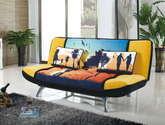多功能沙发床 全拆洗设计 时尚数码印花绒布面料 现代风格三人沙发