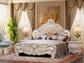 皇室御用头层皮 繁复立体雕花 纯手工描金工艺 法式风格1.8米排骨架双人床