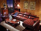 中式风格 典藏臻品 全楠木实木框架 顶级花斑头层真皮沙发套装(1+1+1+左贵妃)