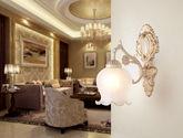 精美描金立体雕花铁艺灯架 优雅花朵型玻璃灯罩 奢华典雅欧美风格1头壁灯
