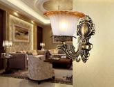 结构坚固铁艺灯架 优雅花朵型玻璃灯罩 奢华大气欧美风格1头壁灯
