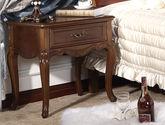 100%白蜡木框架 圆润防撞边角 清晰实木纹理 美式床柜床头柜