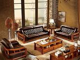 中式风格 名门尊享 100%橡胶木全实木框架 上等头层真皮 环抱式设计减缓腰椎承重沙发套装(1+2+3)