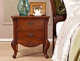 圆润防撞边角设计 精美立体手工雕花 尊贵典雅美式两抽床头柜
