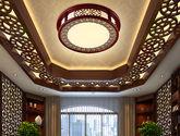 100%实木框架 高透光亚克力灯罩 环保LED芯片 中式风格小号吸顶灯