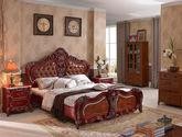 高档舒适头层小黄牛皮软包 精美立体手工雕花 结构坚固实木框架 尊贵奢华欧式风格1.8米大床