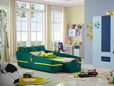 吸湿透气棉麻布面料 防腐耐磨松木框架 足球场图案靠背 现代风格1.2米儿童床(A版)
