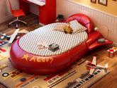 亲肤透气头层真皮 耐磨耐用松木框架 创意飞船造型 1.2米儿童床