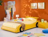 防腐耐用松木框架 时尚汽车造型 亮眼黄色 1.2米儿童床