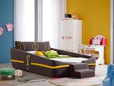 吸湿透气棉麻布面料 防腐耐磨松木框架 足球场图案靠背 现代风格1.2米儿童床(B版)