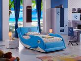防螨透气绒布面料 耐磨耐用松木框架 可爱海豚造型 1.2米儿童床