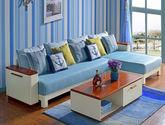 吸湿透气棉麻面料 泰国进口橡胶木实木框架 可储物扶手柜 地中海风格沙发组合(3+左贵妃)