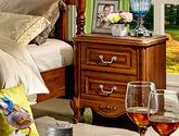 双抽储物设计 防锈耐用五金拉手 天然清晰木纹 美式风格床头柜