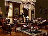 [玛龙城堡] 美式古典 顶级黄牛头层皮 自然綷纹手擦皮工艺 优质橡木框架 精美双面雕花沙发套装(1+2+3)