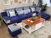 地中海田园沙发 小户型蓝色布艺沙发组合(1+2+转角+脚踏+储物脚踏)