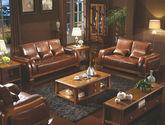 结构坚固实木框架 高当耐磨头层黄牛真皮 简约大气中式沙发组合(1+2+3)