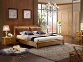 高档耐磨头层黄牛皮软包 结构坚固实木框架 简约大气中式风格1.8米双人床