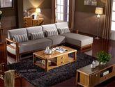 结构坚固实木框架 高档舒适布艺软包 简约大气中式沙发组合(3+左贵妃)