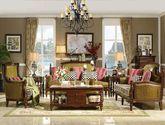 美式风格 实木高档真皮布艺沙发 1+2+3沙发组合 优质桦木实木 油蜡皮