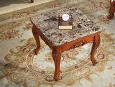 高档实木方几 美式古典风格 进口楸木实木 大理石 石质几面