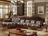 [玛龙城堡] 美式仿古 名流尊享 优质雪尼尔提花布 实木框架 欧式转角布沙发(1+3+右贵妃)