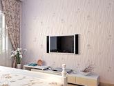 【包邮】卧室田园墙纸韩式 温馨条纹无纺布壁纸粉色小花背景墙儿童房女孩紫色